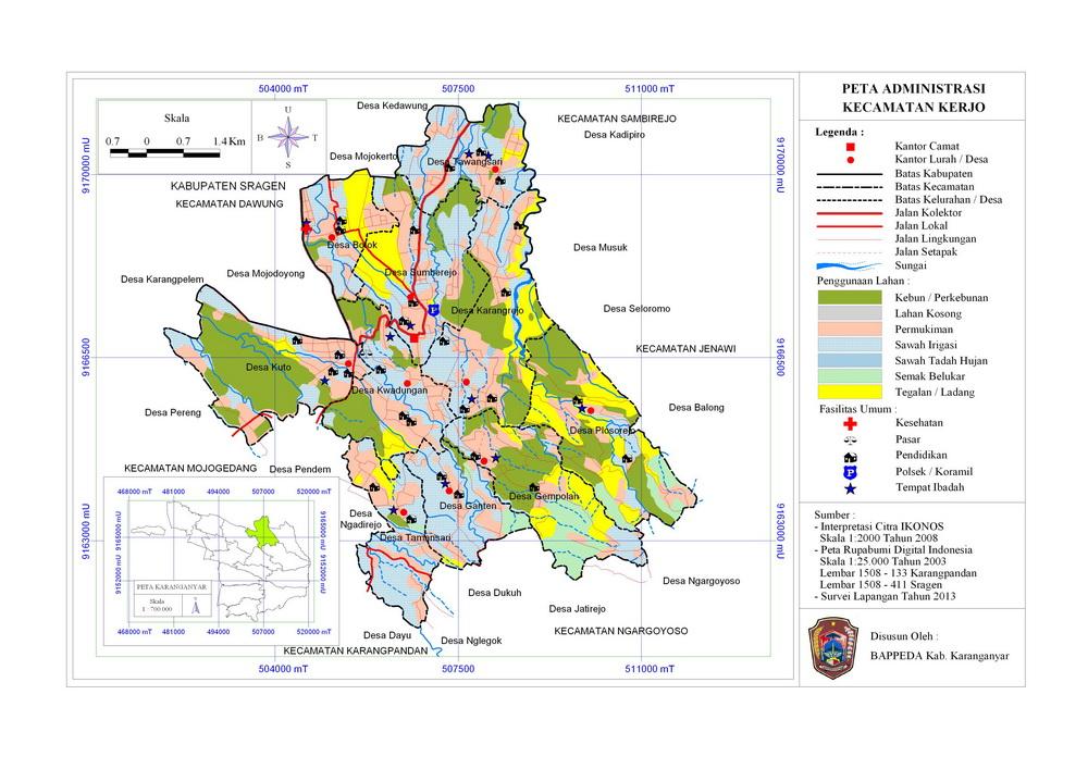 Peta Wilayah Administrasi Kecamatan Kerjo