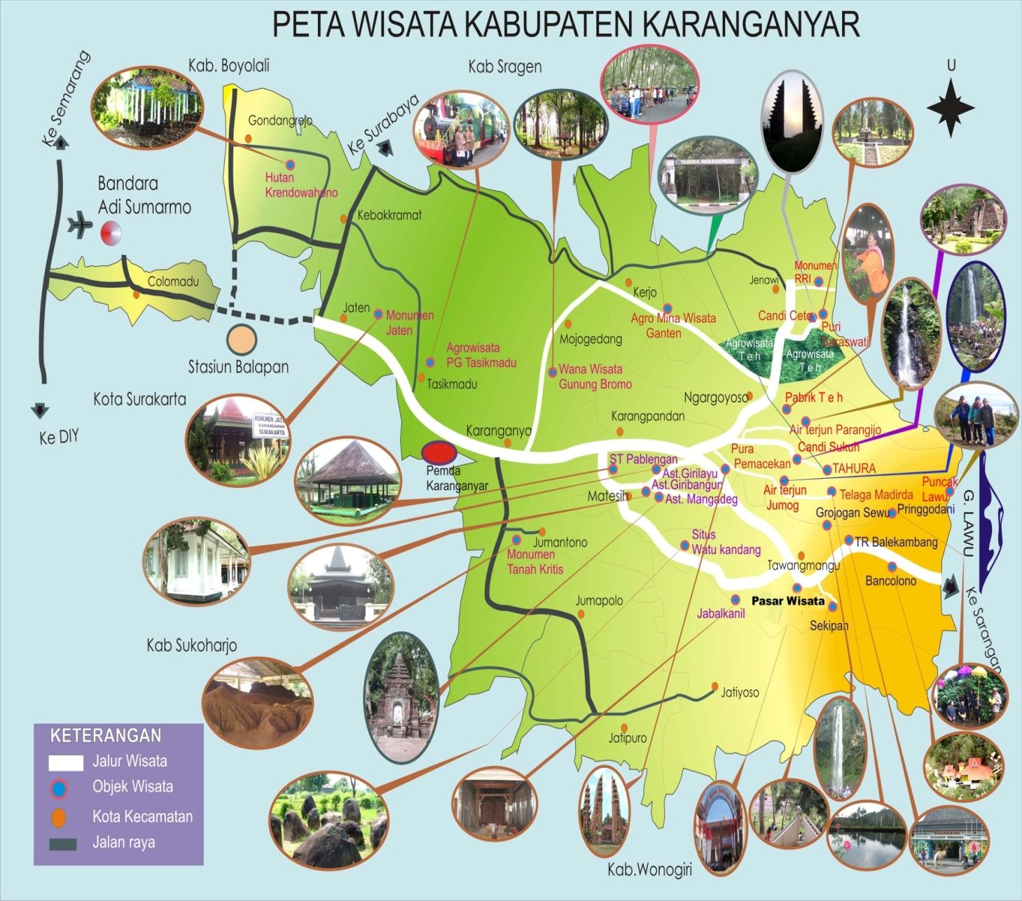 Kabupaten Karanganyar Peta Wisata Karanganyar
