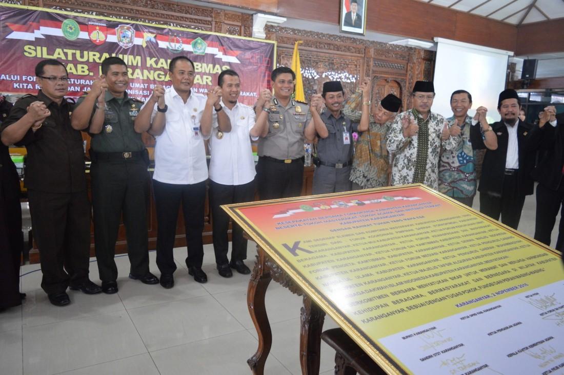 Menanggapi Demo Nasional 4 November, Karanganyar Sikapi Dengan Penandatanganan Bersama Deklarasi Damai