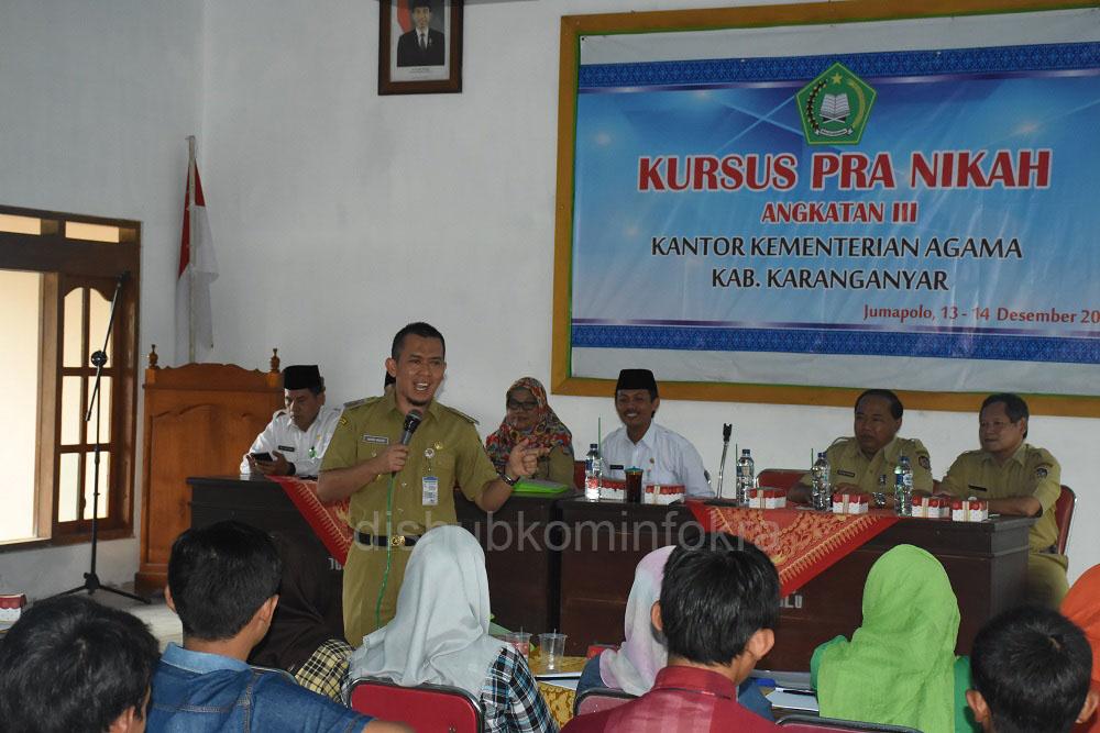 Wakil Bupati Karanganyar, Rohadi Widodo menjadi pembicara pada Kursus Pra Nikah bagi  mereka yang telah berusia dewasa sebelum nikah, baik yang sudah mempunyai pasangan atau pun yang belum.