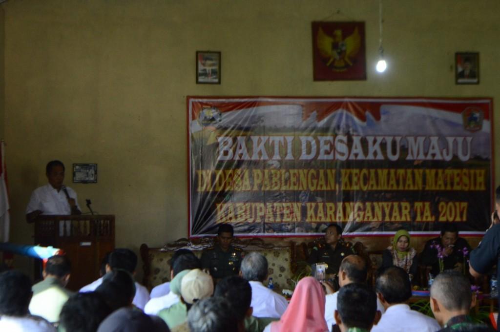 Sambutan Bupati Karanganyar, Juliyatmono dalam acara Pembukaan Bakti Desaku Maju Desa Pablengan Kecamatan Matesih, Rabu pagi (08/03/2017)