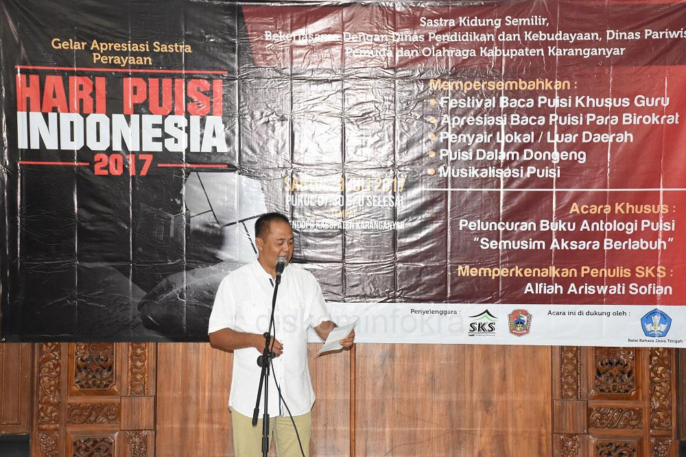 Bupati Karanganyar Ikut Baca Puisi di Hari Puisi Indonesia