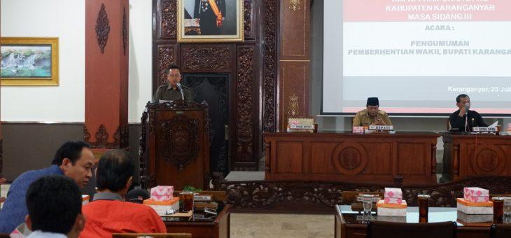 DPRD Karanganyar Umumkan Rohadi Widodo Mundur Dari Wakil Bupati Karanganyar