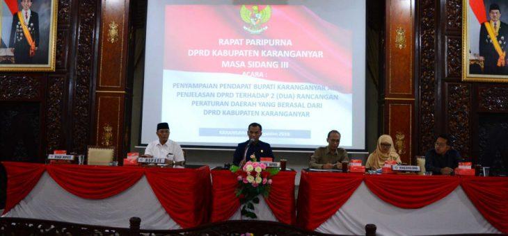 Bupati Karanganyar Menyetujui Usulan Raperda Inisiatif DPRD