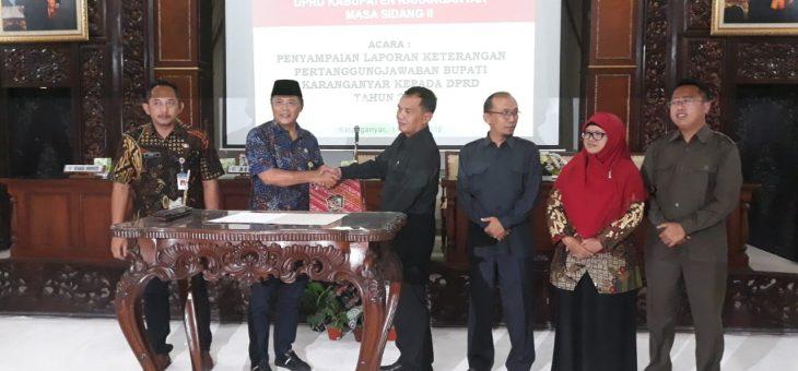 Penyampaian LKPJ Bupati Karanganyar Tahun 2018 Dalam Rapat Paripurna DPRD Kabupaten Karanganyar Masa Sidang 2
