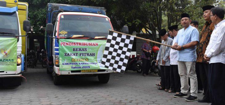 Pendistribusian beras zakat BAZNAS Kabupaten Karanganyar