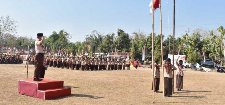 Upacara Hari Pramuka ke-58 di Lapangan Desa Gaum Karanganyar