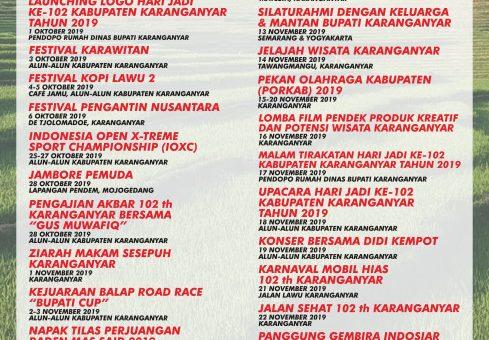 Agenda Kegiatan Peringatan Hari Jadi Ke-102 Kabupaten Karanganyar Tahun 2019