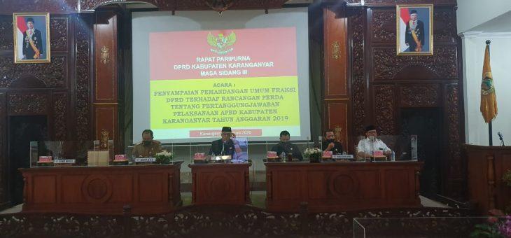 Rapat Paripurna Rancangan Perda Tentang Pertanggung Jawaban Pelaksanaan APBD Karanganyar Tahun Anggaran 2019