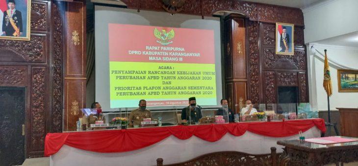 RAPAT PARIPURNA DPRD : PENYAMPAIAN  KUA DAN PPAS APBD PERUBAHAN TAHUN ANGGARAN 2020