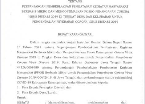 Instruksi Bupati Karanganyar Nomor 180/18 Tahun 2021