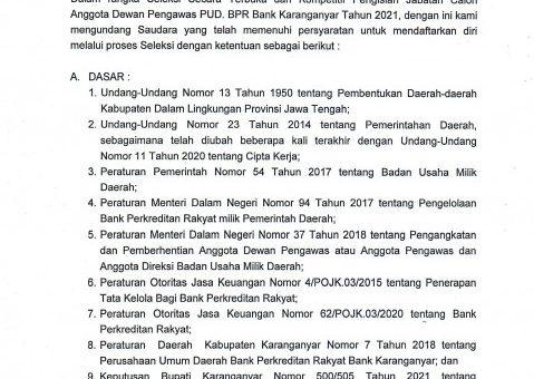 Pengumuman Seleksi Secara Terbuka Dan Kompetitif Calon Anggota Dewan Pengawas Pada Perusahaan Umum Daerah BPRBK Tahun 2021